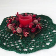 green crocheted christmas doily, cotton candle mat table decoration