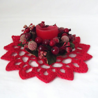 red crocheted christmas doily, cotton candle mat table decoration