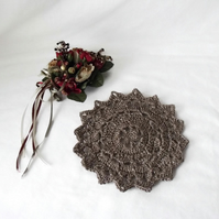 silver sparkly crocheted christmas doily, crochet candle mat table decoration