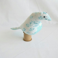 novelty bird pin cushion on a vintage wooden bobbin, mint green