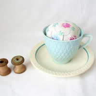 novelty vintage tea cup and saucer pin cushion, turquoise and pink