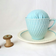 novelty vintage tea cup and saucer pin cushion, turquoise striped fabric