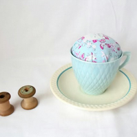 novelty vintage tea cup and saucer pin cushion, pink floral fabric