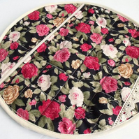 round quilted pyjama case, nightwear bag for your nighty, rose print fabric