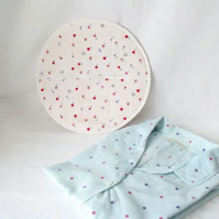 round quilted pyjama case, nightwear bag for your nighty, white lining