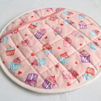 round quilted pyjama case, nightwear bag for your nighty, pink cake print fabric