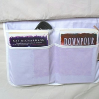 fabric bed side pockets with non slip backing for books, glasses etc
