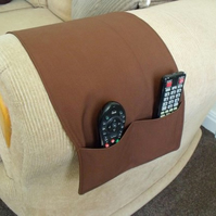 Brown cotton arm chair caddy for all your remote controls, 30 x 10 inches