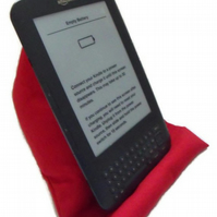 hands free tablet cushion or kindle holder, maroon fabric