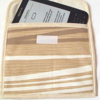 beige abstract tablet sleeve for e reader, kindle etc, aprox 7.5 x 8.5 inches