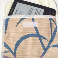 beige tablet sleeve for e reader, kindle etc, leaf print fabric