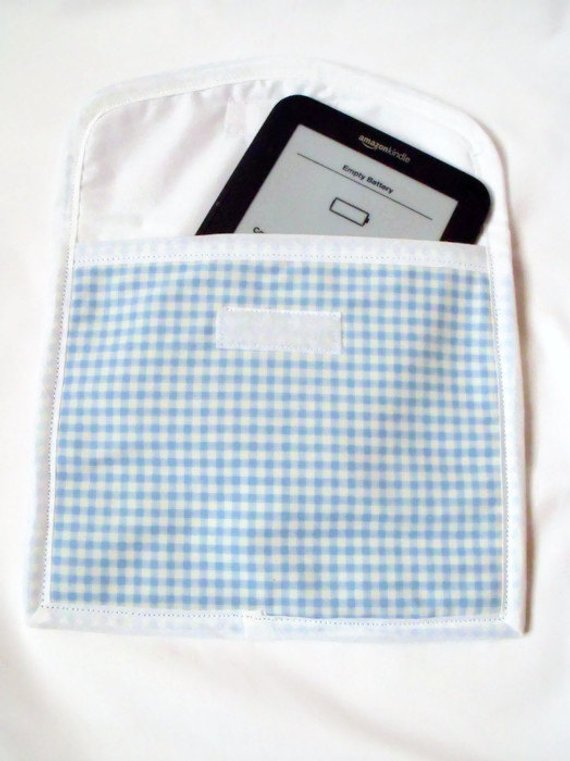 blue gingham tablet sleeve for e reader, kindle etc, aprox 7 x 8 inches