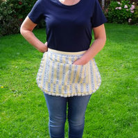 vintage style yellow and blue polycotton half pinny for baking