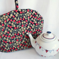 tea pot cozy to keep your brew warm, red and navy berry fabric
