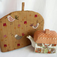 quilted bird tea pot cozy to keep your brew warm, brown cotton
