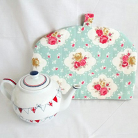 quilted rose tea pot cozy to keep your brew warm, cottage chic home decor