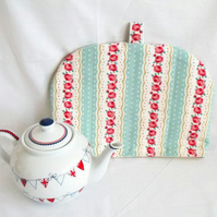 quilted mint tea pot cozy to keep your brew warm, cottage chic home decor