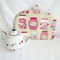 quilted sweety jars tea pot cozy to keep your brew warm, cottage chic home decor