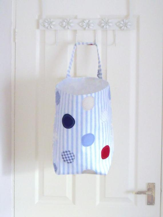 large hanging laundry basket,  toy or wool storage tub