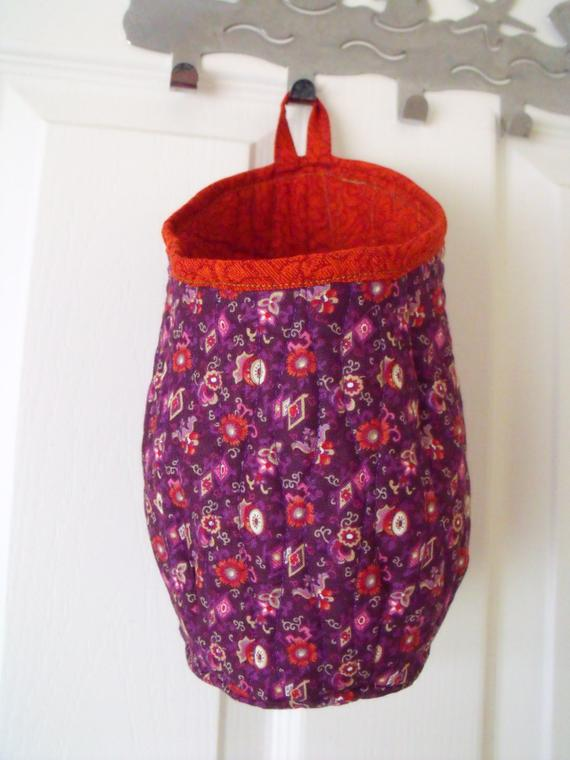 quilted door handle storage bag, storage pod, purple and red