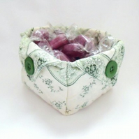 folded fabric storage tub for your bits and bobs, green and cream