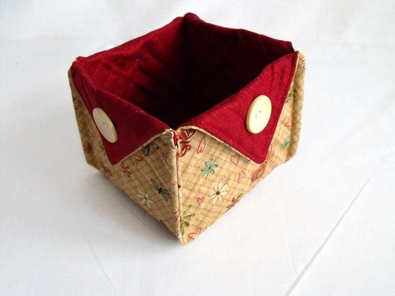 folded fabric storage tub for your bits and bobs, tan and burgundy