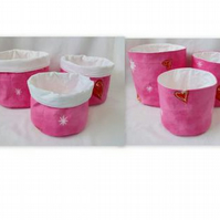 set of three graduated pink love heart cotton storage tubs, pink