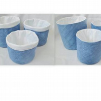 set of three graduated blue cotton storage tubs for your nik naks