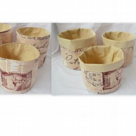 set of three graduated tan and brown cotton storage tubs for your nik naks