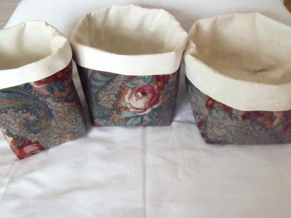 set of three graduated floral cotton storage tubs for your nik nak
