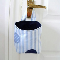 door handle storage bag or gear stick bag, blue striped fabric