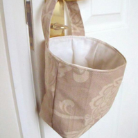 door handle storage bag or gear stick bag, beige floral fabric