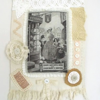 cottage chic vintage style mixed media wall hanging in linen and lace