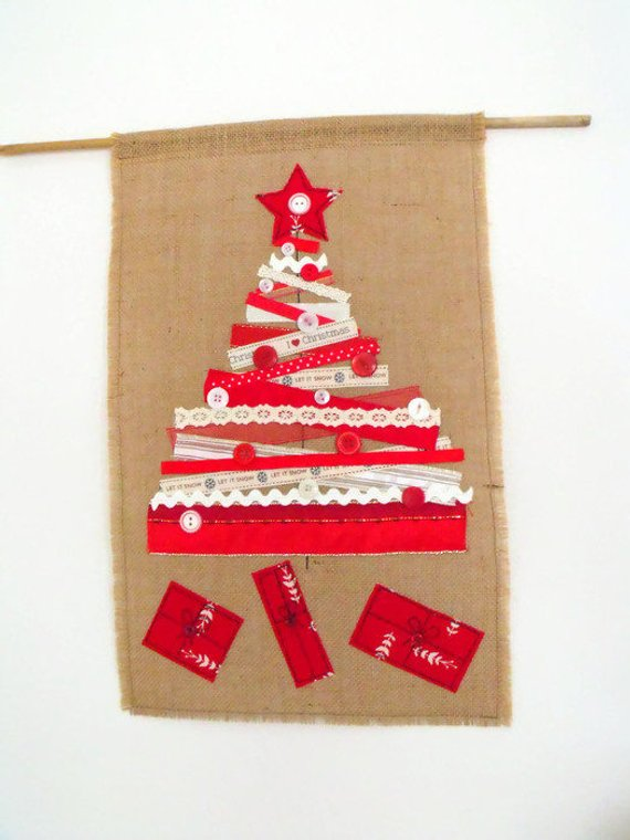 hessian red ribbon christmas tree and presents wall hanging decoration