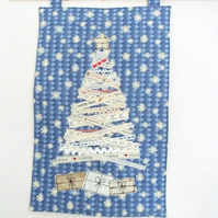 lace and ribbon christmas tree and presents wall hanging decoration