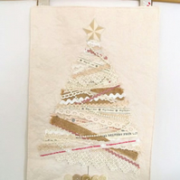 cottage chic lace and ribbon christmas tree and presents wall hanging decoration