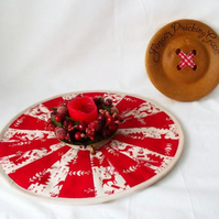 red scandi style patchwork christmas doily, quilted candle mat table decoration