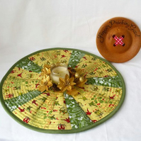 green and yellow patchwork christmas doily, quilted candle mat table decoration