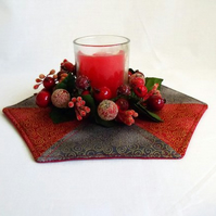 red and grey patchwork christmas doily, quilted candle mat table decoration