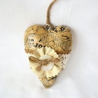 vintage style decoupage wooden heart cottage chic hanging wall decoration