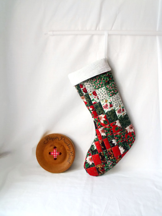 quilted faux patchwork christmas stocking, festive hanging decoration