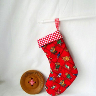 red teddy bear patchwork christmas stocking, festive hanging decoration