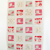 large scandi style hanging christmas advent calendar, 20 x 29 inches