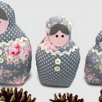 grey graduated russian matryoshka nesting display art dolls, 7, 6, 4.5 inches