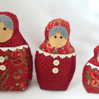 red graduated russian matryoshka nesting display art dolls, 7, 6, 4.5 inches