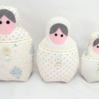 pale green graduated russian matryoshka nesting display art dolls