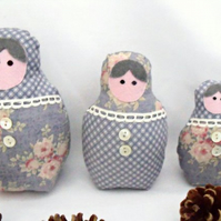 grey floral graduated russian matryoshka nesting display art dolls