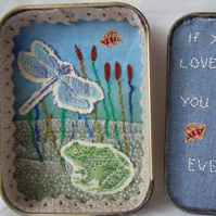 nature tin diorama, small keepsake miniature art in a tobacco tin.