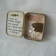 time is precious tin diorama, small keepsake miniature art in a tobacco tin.