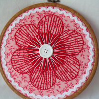 red and white flower embroidered hoop art wall hanging